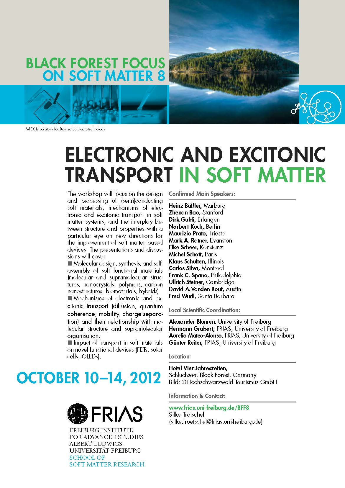 """8. Black Forest Focus zum Thema """"Electronic and Excitonic Transport in Soft Matter"""" erfolgreich beendet"""